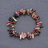 Браслет из натурального камня Турмалин крошка d-6х12мм обхват 18 см на резинке купить оптом в интернет