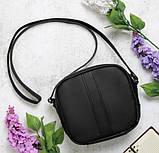 Вместительная женская черная сумка кроссбоди с длинным ремешком через плечо матовая экокожа, фото 2