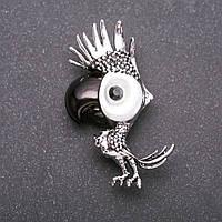 Брошь Попугай серый металл 54х25мм купить оптом в интернет магазине
