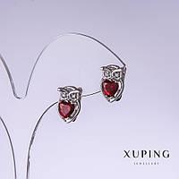 Серьги Xuping Совы с красными цирконами L-13мм s-9мм родий 18к