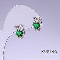 Серьги Xuping Совы с зелеными цирконами L-13мм s-9мм родий 18к