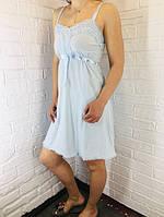 Жіноча нічна сорочка бавовна блакитна 503/504 42-46