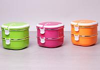 Ланч-бокс двойной | Пищевой контейнер для еды 1800мл | Судочки из нержавеющей стали Kamille KM-2113