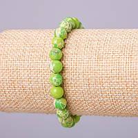 Браслет из натурального камня Варисцит (пресс) зеленый шарик d-10мм обхват 18см на резинке купить оптом в