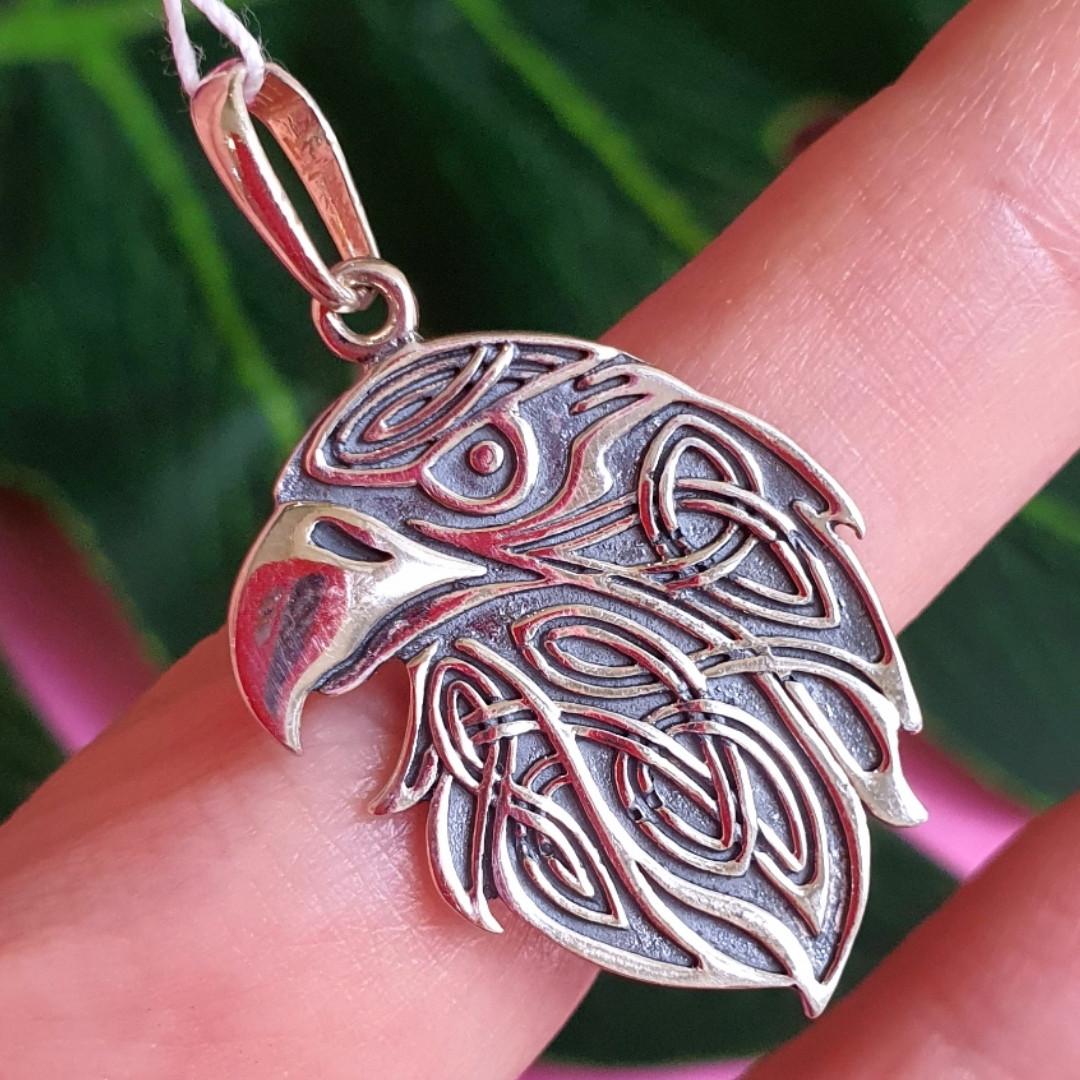 Серебряный кулон Орел - Мужской кулон из серебра Голова Орла