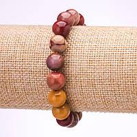 Браслет из камня Мукаит Яшма гладкий шарик d-10мм L-18см на резинке купить оптом в интернет магазине