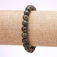 Браслет из камня Яшма кровь дракона гладкий шарик d-8мм L-18см на резинке купить оптом в интернет магазине