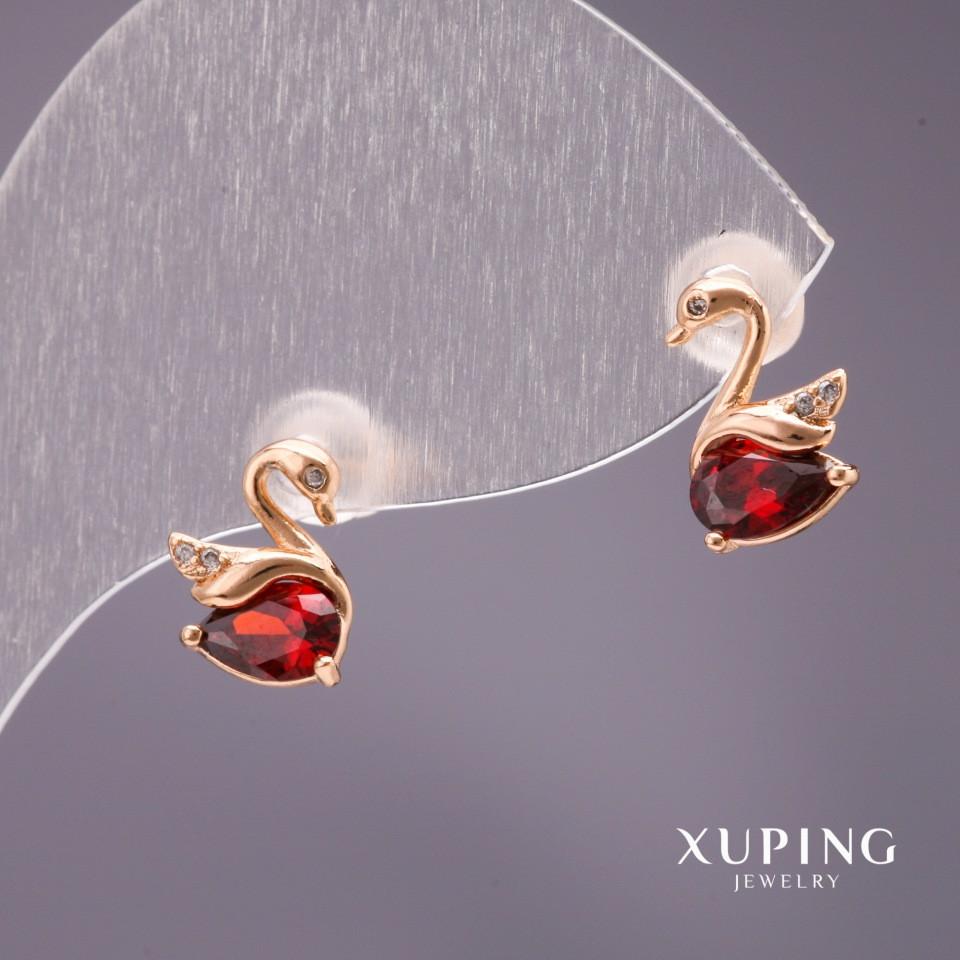 Серьги Xuping пусеты Лебеди с камнем цвет красный 10х7мм позолота 18к