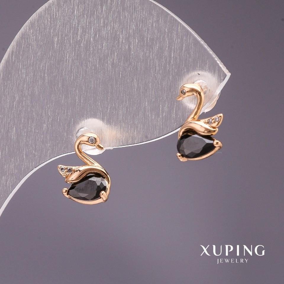 Серьги Xuping пусеты Лебеди с камнем цвет черный 10х7мм позолота 18к