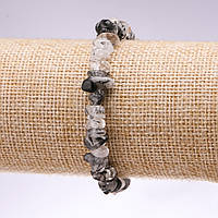 Браслет из натурального камня рутиловый Кварц волосатик крошка d-8мм L-18см на резинке купить оптом в интернет