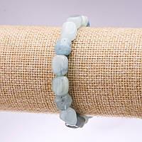Браслет из натурального камня Аквамарин галтовка d-8х10мм L-18см на резинке купить оптом в интернет магазине