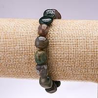 Браслет из натурального камня Моховый Агат галтовка d-10-12мм L-18см на резинке купить оптом в интернет