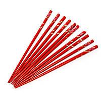 Палочки для суши красные с журавлями 5 пар 09