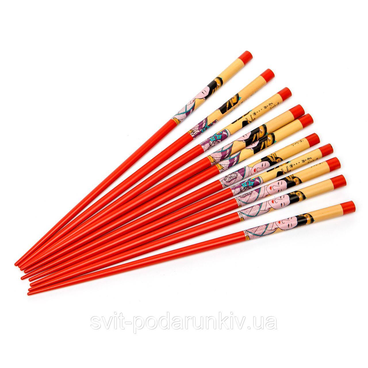 Набор палочек для суши красный с китаянкой на 5 пар 15
