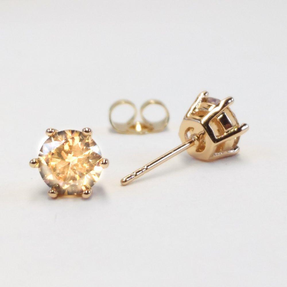 Серьги Xuping пусеты оправа корона с камнем цвет желтый золотой d-7мм позолота