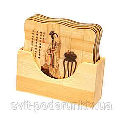 Подставка для чашки бамбуковая набор 6 шт. 1