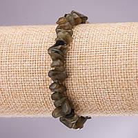 Браслет из натурального камня Лабрадор крошка на резинке d- 5-8мм L-18см