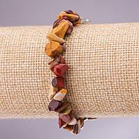Браслет из натурального камня яшма Мукаит крошка на резинке d- 5-8мм L-18см купить оптом в интернет магазине