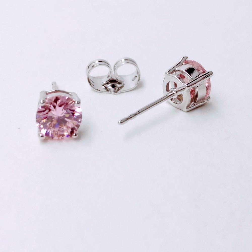 Серьги Xuping пусеты с камнем цвет розовый d-5мм родий