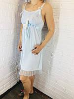 Жіноча нічна сорочка бавовна блакитний 532 42-46