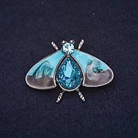 Брошь Мотылек 40х27мм камни эмаль цвет синий черный металл серебристый купить оптом в интернет магазине