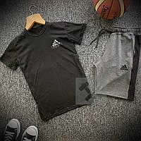 Шорты и футболка Adidas черно-серого цвета с ласпасами (Летний спортивный мужской костюм Адидас)