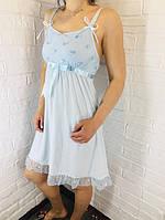 Жіноча нічна сорочка бавовна блакитна 526 42-46