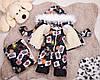 .Детский комбинезон трансформер, зимний комбинезон для новорожденных от 0до2 черный с картами