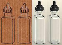"""Набор бутылки 2 шт. Everglass 100 мл. для жидких продуктов """"Maraska"""" с черной пластиковой крышкой - дозатором"""