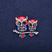 Брошь Сова эмаль стразы цвет красный синий черный серый 35х30мм серебристый металл купить оптом в интернет