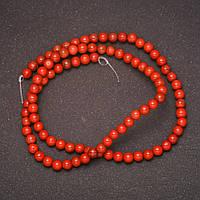 Бусины на леске из натурального камня Яшма Красная d-4(+-)мм L-38см купить оптом в интернет магазине
