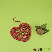 """Декор-підвіска дерев'яна серце """"червоне"""" (11-12 см)"""