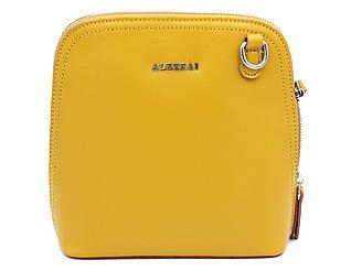 Женская кожаная сумка Alex Rai через плечо желтая