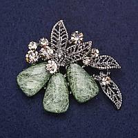 Брошь Цветок Папоротника стразы цвет зеленый серый 50х45мм серебристый металл купить оптом в интернет магазине