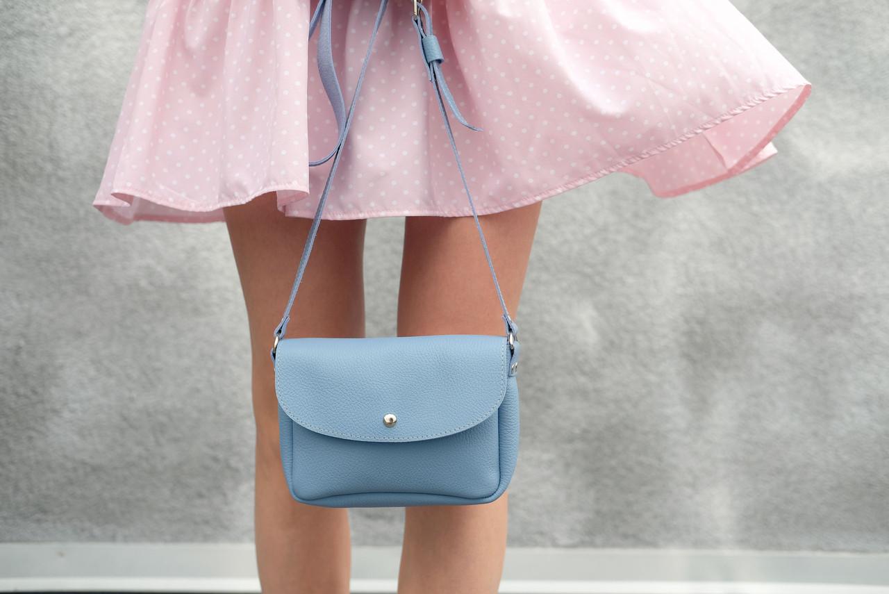 Сумка женская. Кожаная сумочка МИЯ, Кожа флотар, цвет Голубой