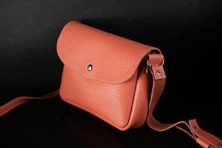 Сумка женская. Кожаная сумочка МИЯ, Кожа флотар, цвет Коралл, фото 2