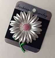 Брошь Цветок эмаль цвет серый розовый зеленый 64х49мм купить оптом в интернет магазине