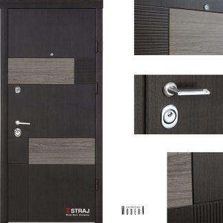 Дверь входная металлическая Straj,Standard SEC Lux  ,Straj LUX, 1(Росса Glass AL /Сонома тём.) 2(Росса ND/Сонома тём.) ,960х2040 ,правая