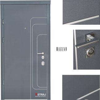 Дверь входная металлическая Straj,Standard SEC Lux  ,Straj LUX, 1(Трэк/антрацит) 2(белое дерево) ,850х2040 ,левая