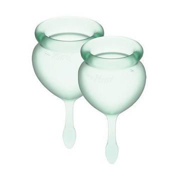Набор менструальных чаш Satisfyer Feel Good (light green), 15мл и 20мл, мешочек для хранения Bomba💣