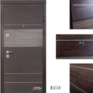 Дверь входная металлическая Straj,Standard SEC Lux  ,Straj LUX,  1(Бревис Plus/венге золото) 2(сонома тем.)  ,850х2040 ,правая