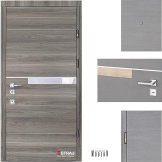 Дверь входная металлическая Straj, Росса Glass Al  ,Straj Standart ,  MUL-T-LOCK, Сонома темная   ,860х2040 ,правая