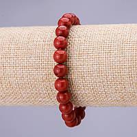 Браслет Красная Яшма гладкий шарик 8мм на резинке купить оптом в интернет магазине
