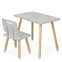 Детский деревянный столик и стульчик M 4256 Square gray Серый | Дитячий стіл і стілець скандинавский стиль