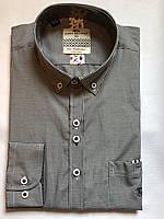 Чоловіча сорочка класична з довгим рукавом, чорно-біла клітинка, комбінована. М-40