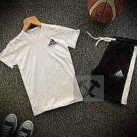 Летний спортивный костюм Adidas черно-белого цвета (Мужские шорты и футболка Адидас 90% хлопок)