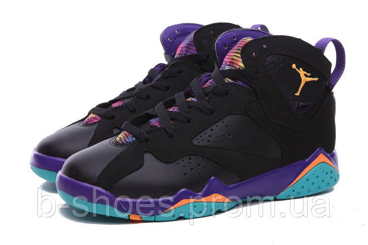 Женские  баскетбольные кроссовки Air Jordan Retro 7 (Black/Multicolor)