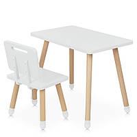 Детский деревянный столик и стульчик M 4256 Square white Белый | Дитячий стіл і стілець скандинавский стиль