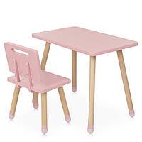 Детский деревянный столик и стульчик M 4256 Square pink Розовый | Дитячий стіл і стілець скандинавский стиль