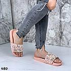 Женские шлепанцы цвет пудра, экокожа +  декор бусинки, фото 2